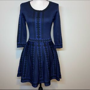 Nina Leonard Geometric Print Fit & Flare Dress